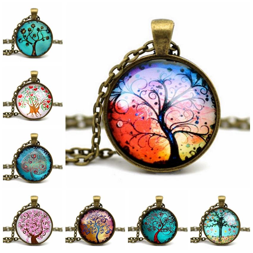 2015 Fashion Wisdom Tree Pendant Necklace Art Photo Vintage Glass Cabochon Colares Feminino Choker Statement Necklace For Women(China (Mainland))
