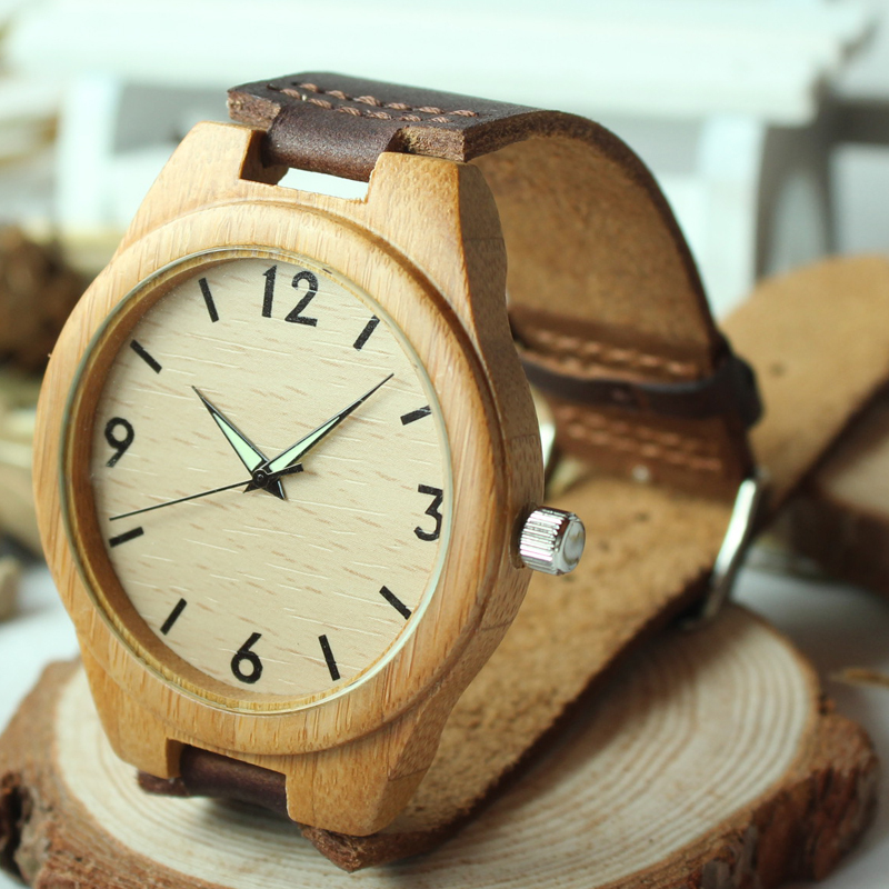 Fashion 2015 Men's Bamboo Wooden Watches With Genuine Cowhide Leather Band Luxury Wood Watches for Men Best Gifts Item(China (Mainland))
