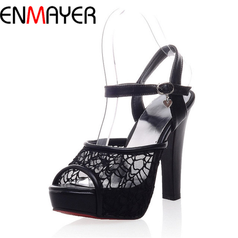 Sandals Open Toe Shoe Women High-heeled Shoes Bow High-heeled Shoes Summer Lace Cutout Sandals Female  Shoes Women Big Size34 45