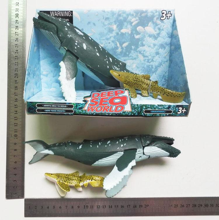 Movable Sea Life Animal 1pcs Whale+1pcs Fish Classic Toys For Boys Marine animals Model DX0001(China (Mainland))