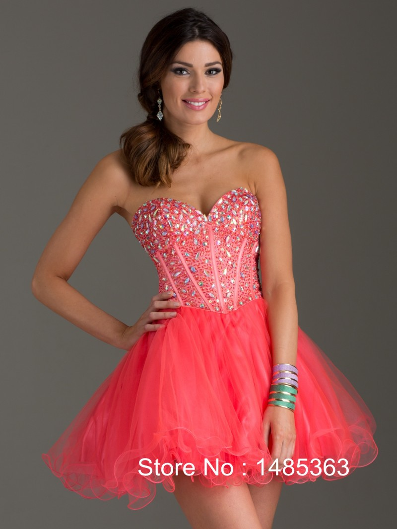 Short Coral Prom Dresses - RP Dress