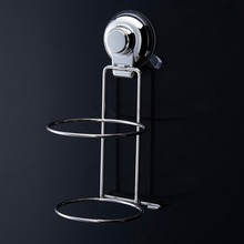 Floureon Stainless Steel Hair Dryer Rack Suction Cup Hook Holder Wall-Mount Wire Rack Shelf Storage Bathroom Accessories Set(China (Mainland))