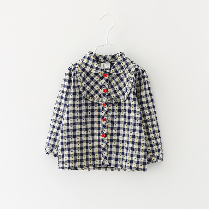 Girls Blouses Casual Spring Cotton Baby Plaid Fashion Button Style Full Sleeve With Ruched Children Casual Clothing 8pcs/ LOT<br><br>Aliexpress