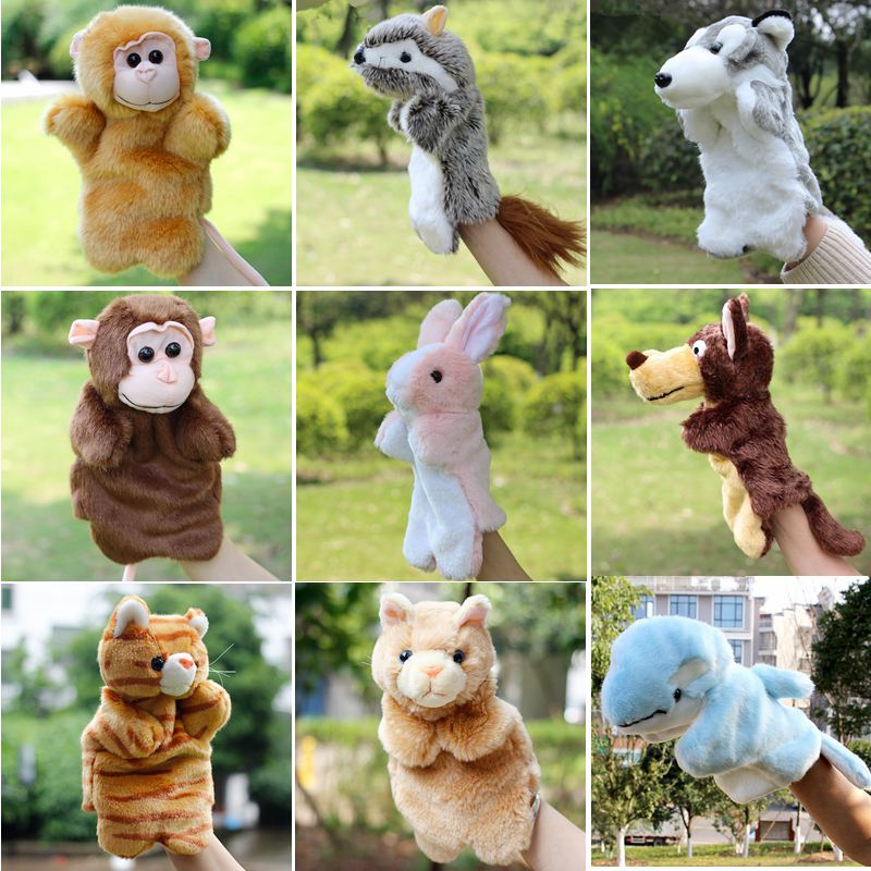 2016 New Arrival Hand Puppet Plush Puppets Sloth Elephant Cow Cat Mouse Monkey Snake Doll Baby Toy Brinquedo Marionetes Fantoche(China (Mainland))