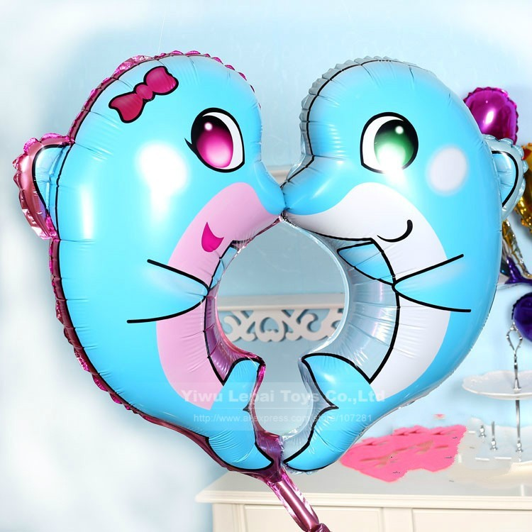 10pc/lot heart kiss blue dolphin balloon ,for birthday decoration helium foil balloon inflatable toys casamento valentines day(China (Mainland))