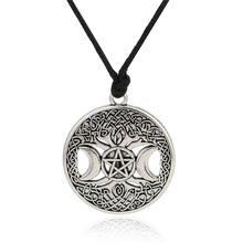 Buy Lemegeton Knot Triple Moon Goddess Pentacle adjustable rope chain pendant necklace men witchcraft jewelry wicca charms for $3.69 in AliExpress store