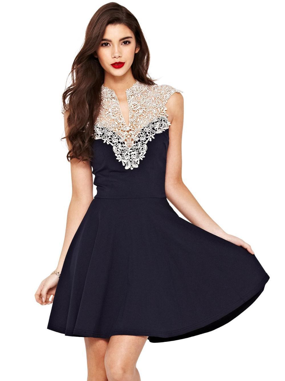 New Arrival 2015 Fashion Sexy Women Lace Dress Crochet Ladies Evening Party Prom Dress Plus Size