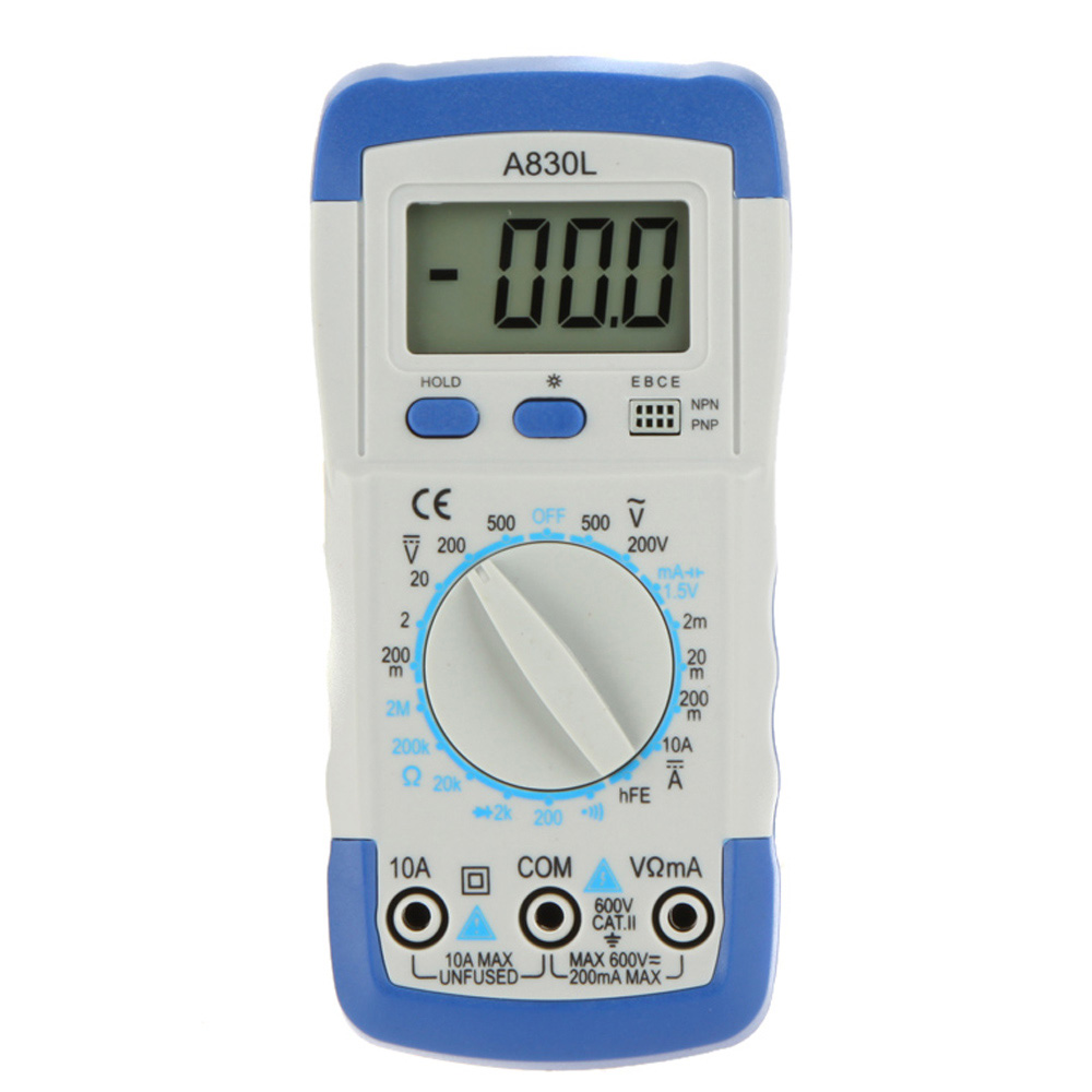 DMM Digital Multimeter A830L Ammeter Multitester Voltmeter Megohmmeter Ohmmeter hFE Current Tester w/ LCD Backlight(China (Mainland))