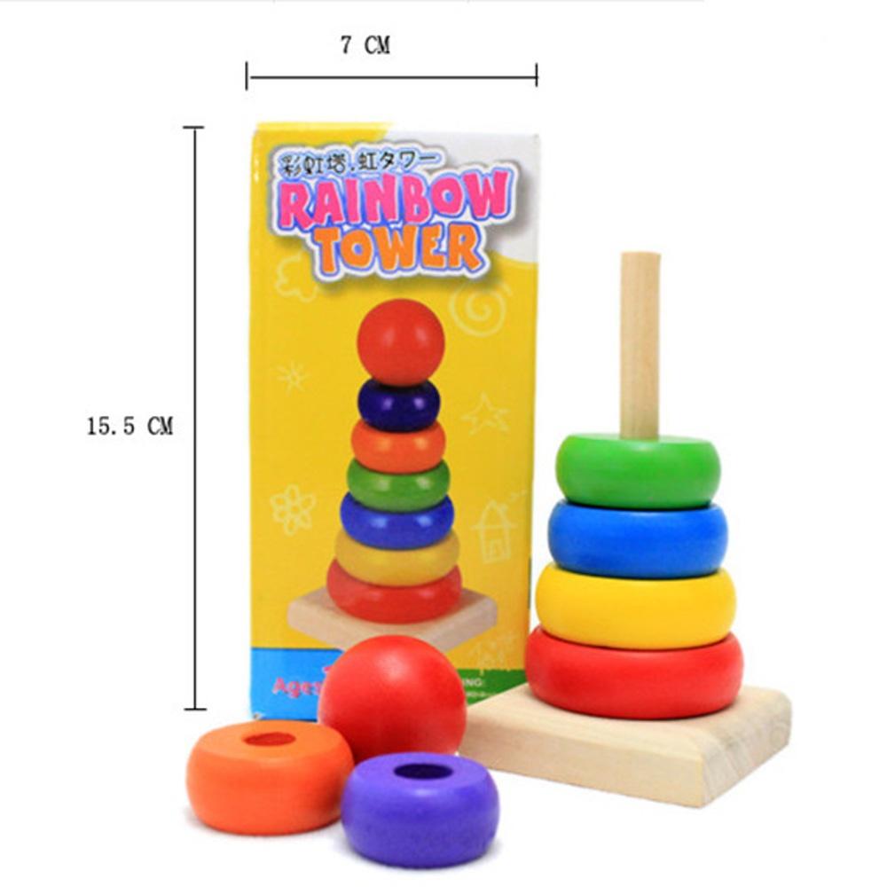 Cute Jenga Rainbow blocks Stacker Stacking Tower Wooden Building Blocks montessori educational wooden Toy Kids - Enjoy Play store