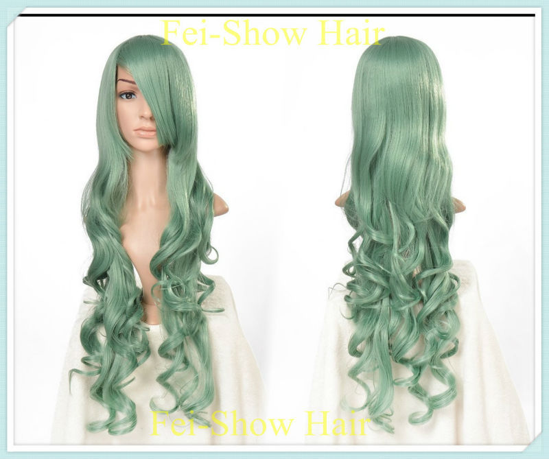 Wig Hairstyles Synthetic Long Afro Kinky Curly Light Green Wig Heat Resistant Synthetic Wig Halloween Salon Anime Wig Hairstyles(China (Mainland))
