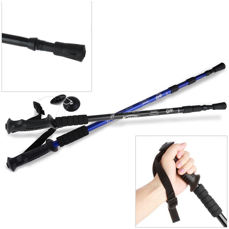 Hot Adjustable Telescopic Aviation Aluminum Alloy Hiking Climbing Anti-Shock Walking Stick Pole Retractable with Compass <br><br>Aliexpress