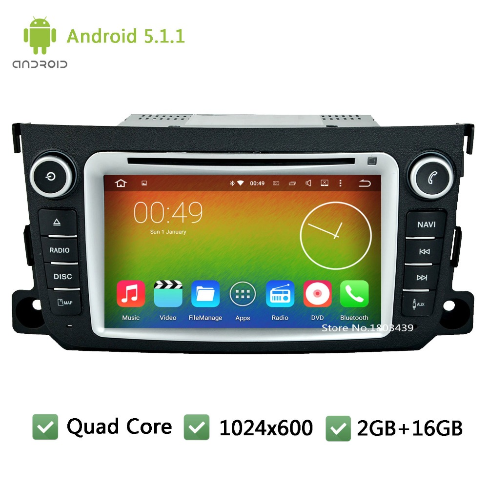Quad core Android 5.1.1 2Din 1024*600 WIFI FM RDS USB Car DVD Player Radio Audio Stereo PC GPS For Benz Smart Fortwo 2011-2014(China (Mainland))