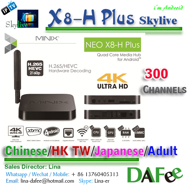 Best 4K IPTV Android TV BOX Minix X8-H Plus XBMC Dual Wifi 2G 16G 79 JAPAN &KOREA+31 Adult150 English China Channels DHL Free(China (Mainland))