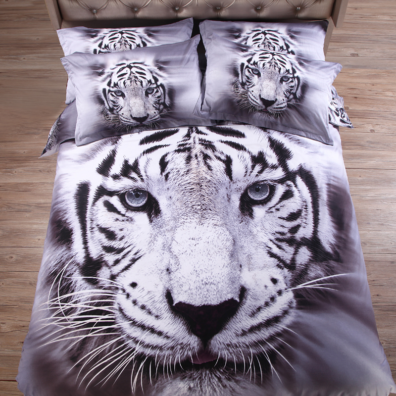 Popular white tiger bedding buy cheap white tiger bedding for Housse de couette animaux