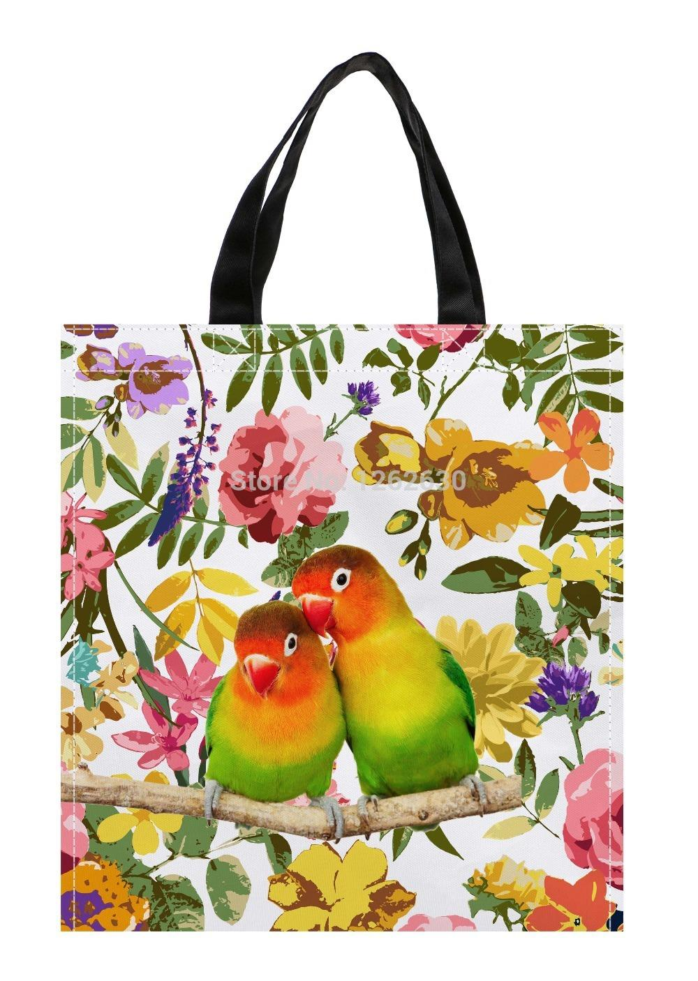 Lovebirds bird and Watercolor Floral Print Custom individual waterproof Nylon Fabric shopping bag gift bag Pack of 2(China (Mainland))