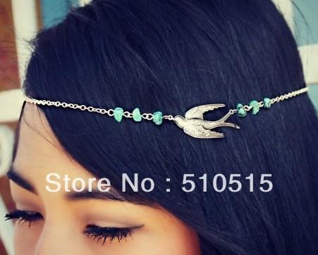 Beaded Swallow Bird Headband Chain Wedding Headpiece