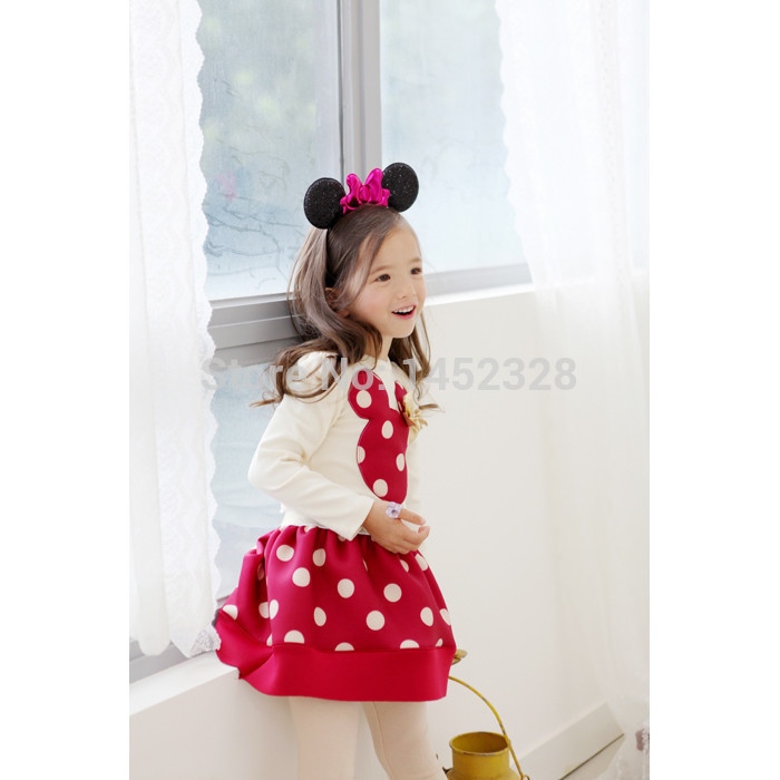 2015 Spring and autumn New Children Girl's 2PCS Sets Skirt Suit Minnie Mouse baby sets dots skirt dots pants kids 2014new(China (Mainland))