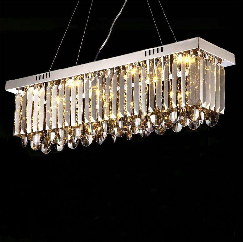 led square 70cm length high quality smoke grey crystal pendant light