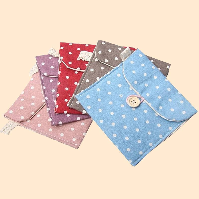 3pcs/lot Free Shipping Cotton Polka Dot Korean Style Storage Bag for Girl's Sanitary Napkin(China (Mainland))