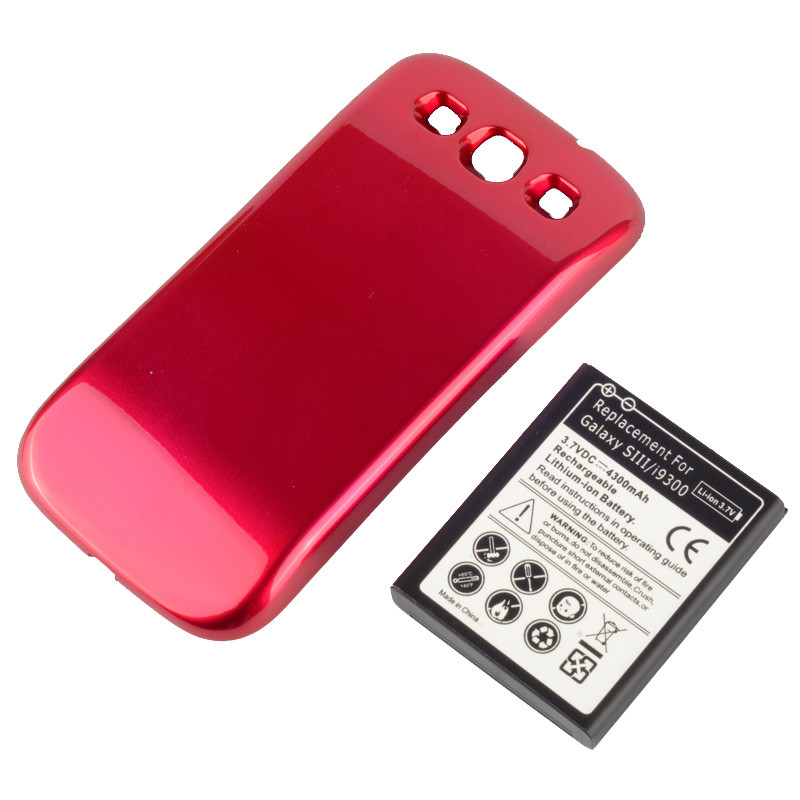 New 4300mah Extend Mobile Phone Replacement Battery For Samsung Galaxy S3 i9300 + Door Back Cover Red E0309 P40(China (Mainland))