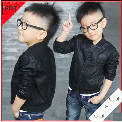 2015 Skull Design Cool Children Outerwear Baby Boys PU Leather Motorcycle Jacket Winter Toddlers Kids Thick Fleece Fur Coat(China (Mainland))