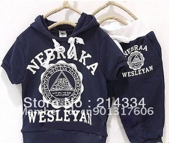 free shipping 5 suit/lot Baby suit boy girls Sport suits nebraka wesleyan children short sleeve shirt pant clothing set