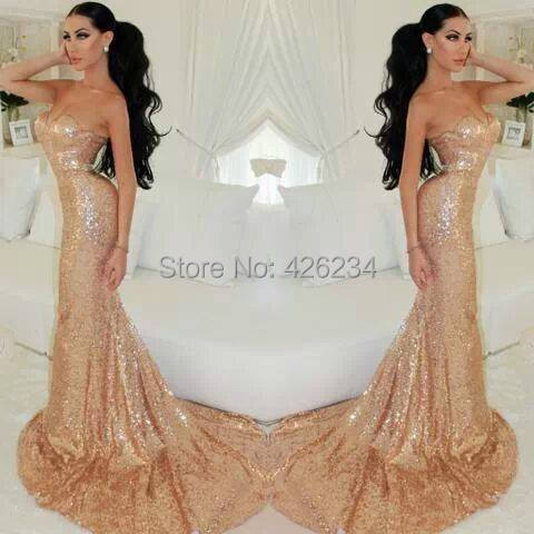 2014 Sexy Party Gown Gold Sequin Sweetheart Backless Mermaid Long Evening Dresses Women Robe de soiree Formal Prom Dresses(China (Mainland))