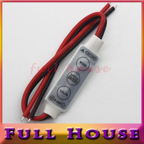 1pcs/lot 12V Mini 3 Keys Single Color LED Controller Brightness Dimmer for led 3528 5050 strip light Free shipping(China (Mainland))