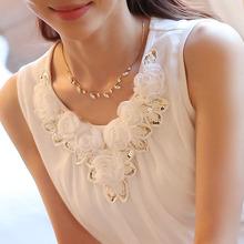 blusas femininas 2015 women blouses blusa feminino womens tops fashion Sleeveless Chiffon Shirt Fashion  XXXL Plus Size White(China (Mainland))