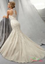 2016 Elegant Beaded Chiffon Halter Mermaid Wedding Dresses with Chapel Train Lace Back Sleeveless Trumpet Dress Vestido De Noiva(China (Mainland))
