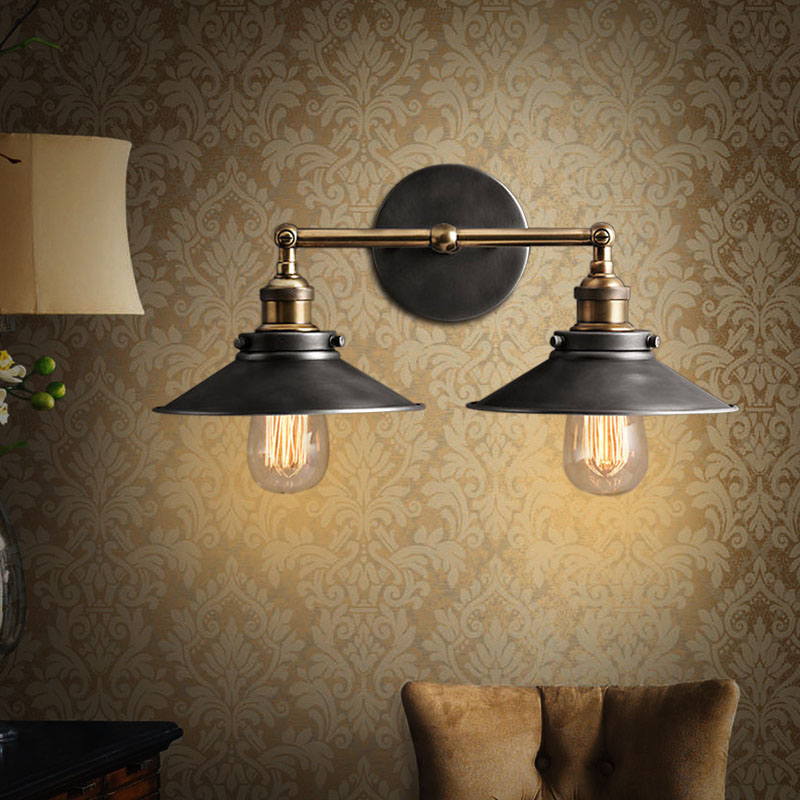 MODERN VINTAGE INDUSTRIAL METAL DOUBLE RUSTIC SCONCE WALL LIGHT WALL LAMP<br><br>Aliexpress