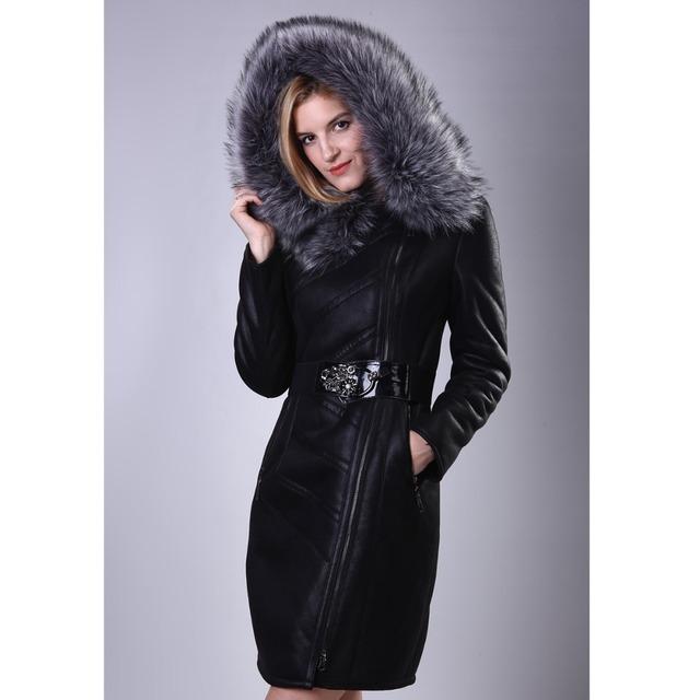 2015 новый женская меховая куртка роскошный меховой воротник лиса овчины кожаные ...