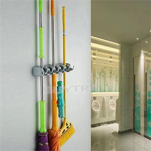 ABS Kitchen Wall Mounted Hanger 3/4/5 Position Kitchen Storage Mop Brush Broom Organizer Holder Tool Free Shipping(China (Mainland))