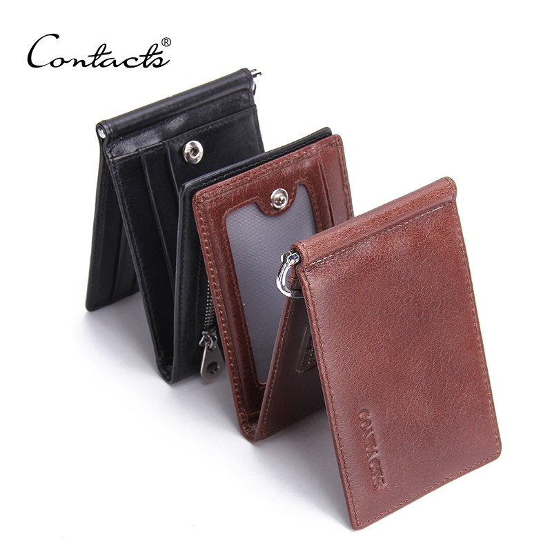 Hot Sale 2016 Fashion New Genuine Leather Men Money Clips Black Brown Trifold Open Clamp For Money With Card Holder Money Bag(China (Mainland))