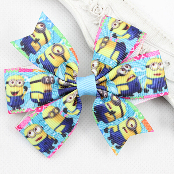 Cute Despicable Me Hair Bows for Girl Hair Accessories Boutique Hair Bows with Clips Hairpin Ribbon Bow Clips 10pcs/lot(China (Mainland))