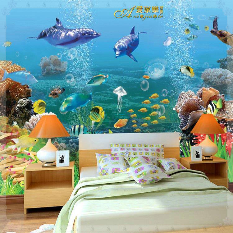 Large 3d underwater murals photo wallpaper for child kids for Kids room wall paper