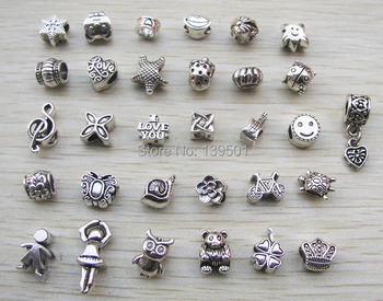 Free Shipping 31pcs mix style antique silver plated alloy big hole charms beads fit pandora bracelet DIY