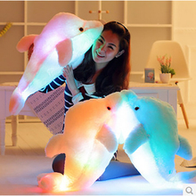 Led Light Cushion Pink Cute Dolphin Stuffed Plush Doll Toy Girl Birthday Gift Rainbow Color Beat To Grow 45Cm(China (Mainland))