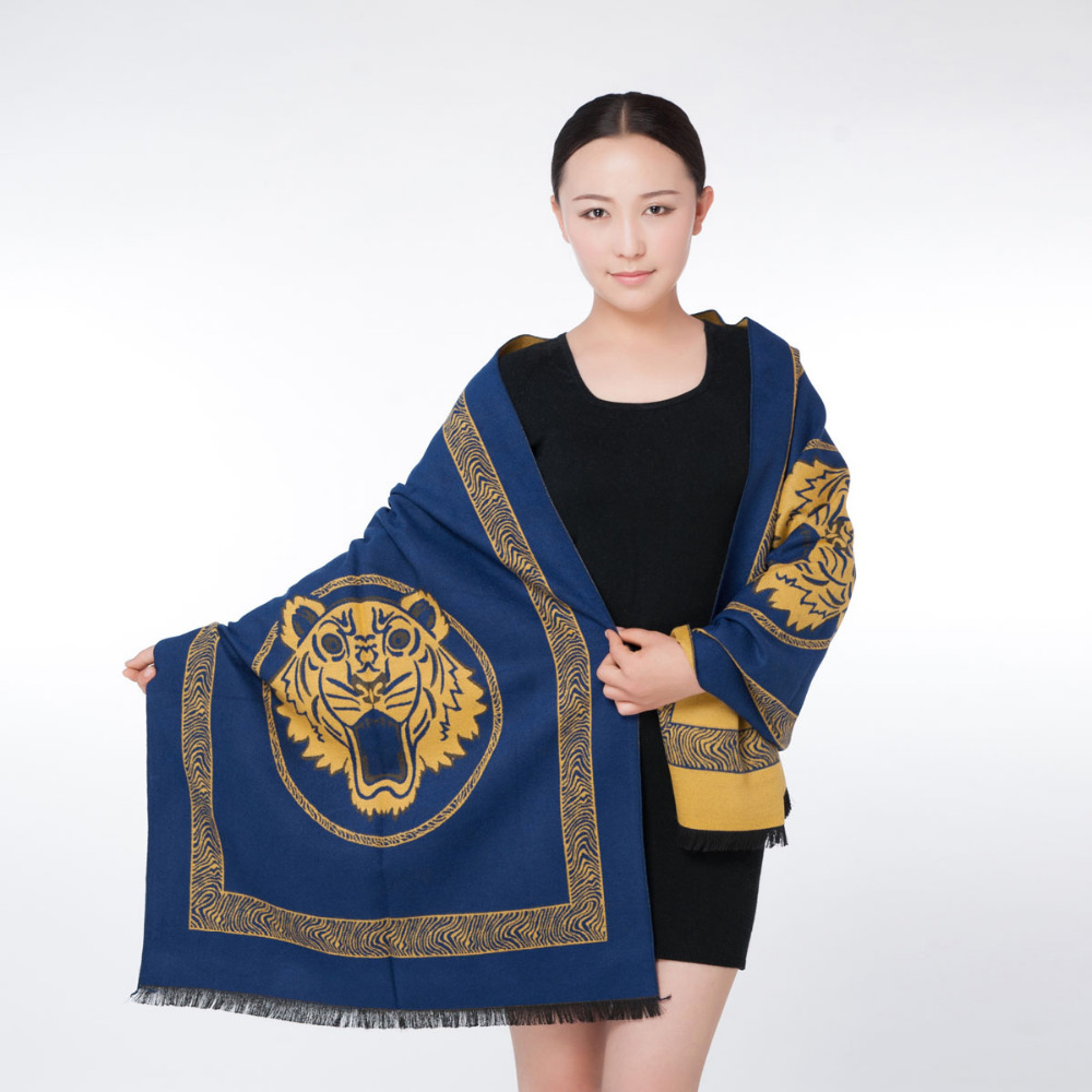 2015 NEW arrival pashmina designer's long shawl for fashion women blue with yellow tiger head(China (Mainland))