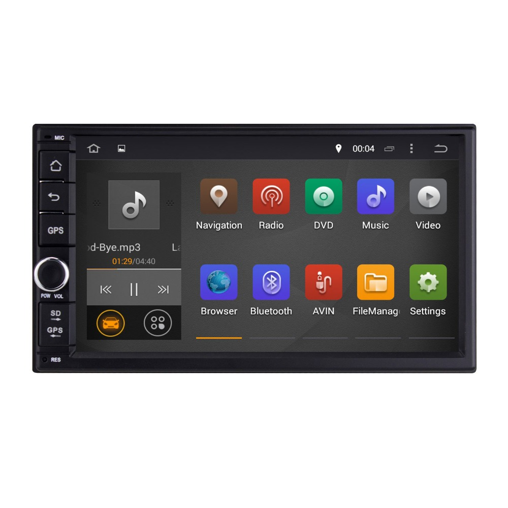 Quad Core Universal Double 2 Din 7 Inch Android 4.4 Car Radio Audio Stereo+Video+Car PC+WIFI+3G+Steering-control+1024*600 Screen(China (Mainland))