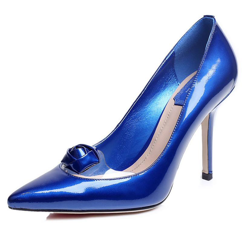 2016 New Brand Genuine Leather Shoes Women High Heel Sexy Pointed Toe Wedding Shoes Casual Business Shoes Woman Pumps(China (Mainland))