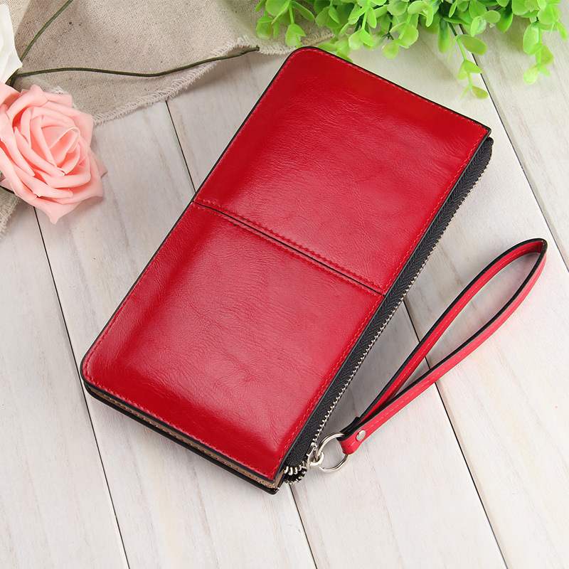 Lowest Cheap Price Leather Wallets Cutches Women oil wax Leather Clutch Bag Designer three wristlets Wallet Purse(China (Mainland))