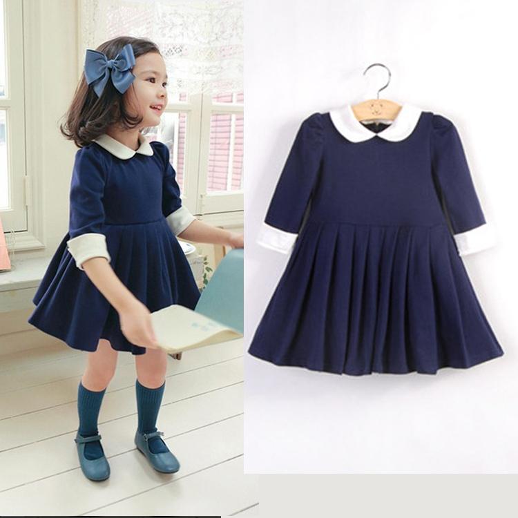 2015 brand Solid Girl Dress party Dress New Autumn British Style Vintage Dark Baby Half Sleeve Princess Kid's sofia dress(China (Mainland))