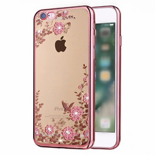 Buy Luxury Rhinestone Flowers Silicon Soft Phone Cases iPhone 6 Case 5s 5 Cases Cover iPhone 7 Case 6 6s Plus SE Capa Coque for $1.59 in AliExpress store