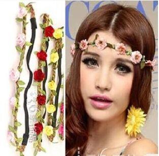 2015 new arrival fashion Beach head ornaments Bride Bridesmaid flower garland Hair Band Photo holiday accessories necessary(China (Mainland))
