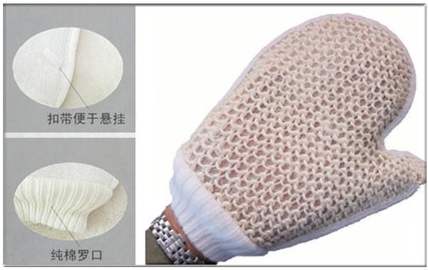 Free shipping comfortable sisal bath glove body scrubber exfoliating body cleaner body spa massage corneous dead skin bath 3 pcs(China (Mainland))