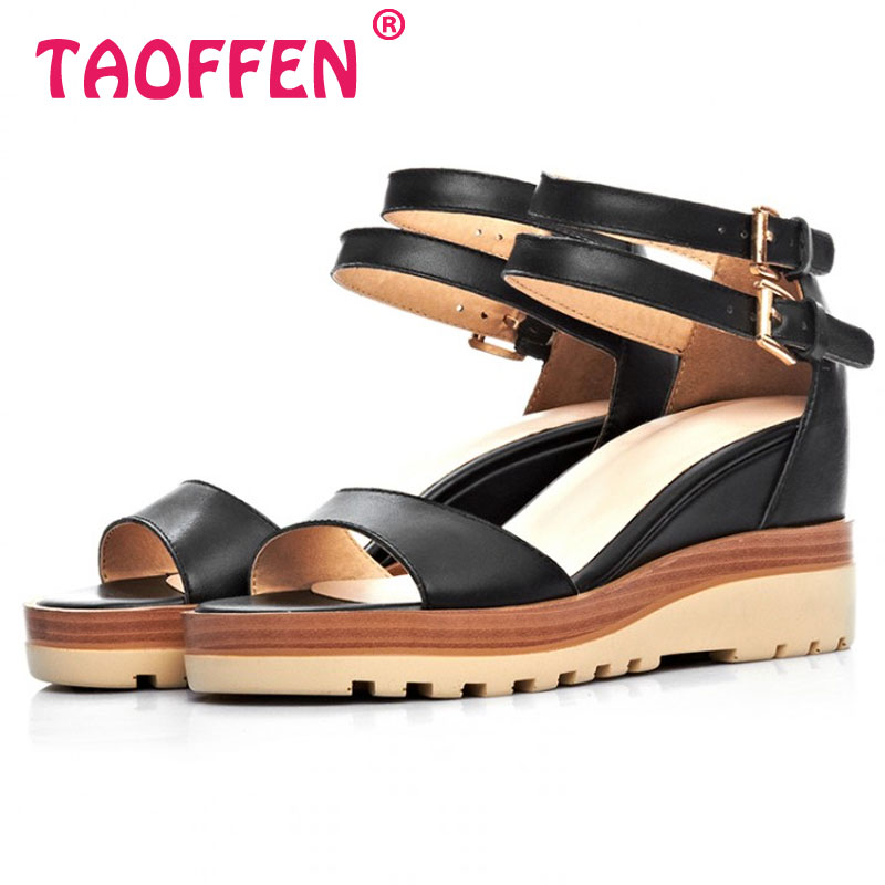 women real genuine leather peep toe platform ankle starp wedge high heel sandals sexy brand heeled ladies shoes size 34-40 R6191<br><br>Aliexpress