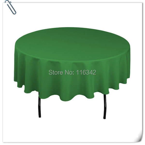 "Hot Sale !!!! 20pcs Direct Factory Made Customized Green Color 70"" Round polyester Tablecloths Free Shipping(China (Mainland))"