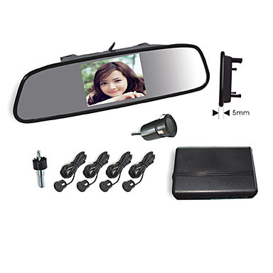 Car Rearview Mirror 3.5 Inch Lcd Screen, Camera 4 Radar Parking Sensors System-Buzzer Alarm - fan qinhai's store