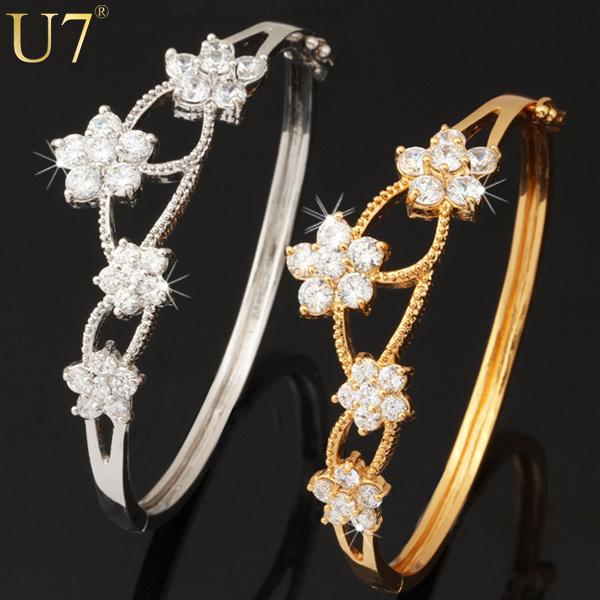 Shiny Zirconia Flower Fashion Jewelry Free Shipping New Trendy 18K Gold&Platinum Plated Bracelets Bangles For Women H427(China (Mainland))